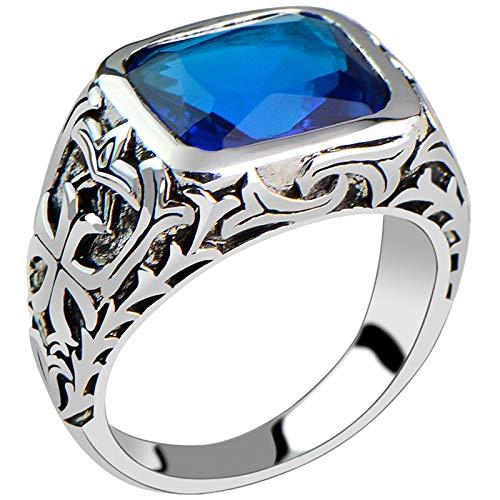 Anillos de Plata Esterlina 925 para Hombres, Piedra de Cristal Natural Azul, Joyería Fina con Flor Grabada Hueca Vintage,7