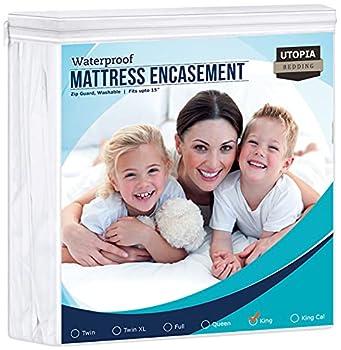 Utopia Bedding Zippered Mattress Encasement 100% Waterproof Mattress Protector Absorbent Six-Sided Mattress Cover  King