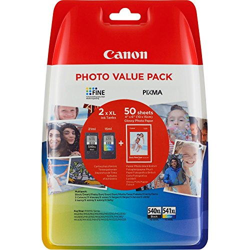"""Canon PG-540XL/CL-541XL Cartuccia Originale Getto d'Inchiostro a Resa Elevata, 2 Pezzi, Nero/Colore + 50 Fogli di Carta Fotografica Lucida 4"""" x 6"""""""