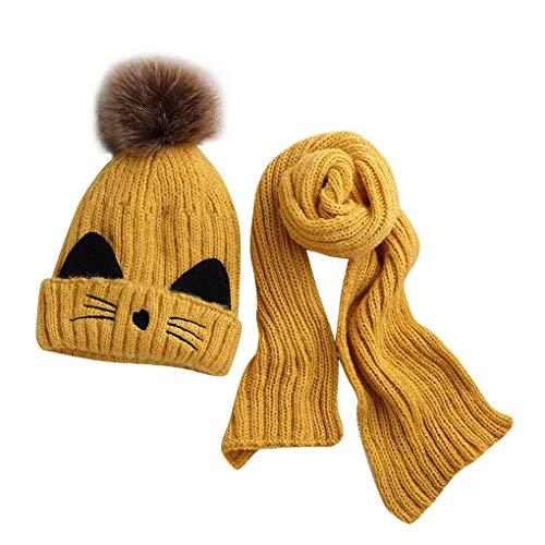 berretto 2 pon pon JFAN Cappelli per Bebè Ragazzi - Sciarpa Calda Invernale per Bambini Set Simpatico Berretto con Pon Pon Lavorato a Maglia Gatto per Bambino 2-8 anni (giallo)