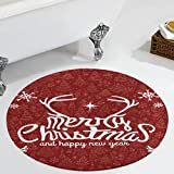 Veryday Alfombra redonda de Navidad vintage, alfombra de salón,...