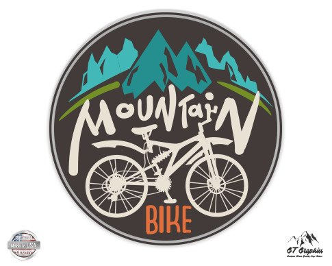 "GT Graphics Mountain Bike - 3"" Vinyl Sticker - for Car Laptop I-Pad Phone Helmet Hard Hat - Waterproof Decal -  653801021608"