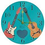 TIKISMILE - Reloj de pared para guitarras eléctricas musicales, silencioso, no pinchazos, acrílico, redondo, para oficina, escuela, sala de estar, dormitorio, decoración del hogar