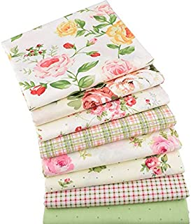 8Pcs/Lots 40x50cm Rose Flower Style Series Cotton Fabric Patchwork Cotton Fabric - Fat Quarters for Sewing - Fat Quarters Fabric Bundles Baby - Fat Quarters Fabric Autumn - Patchwork Fabrics for Quilt