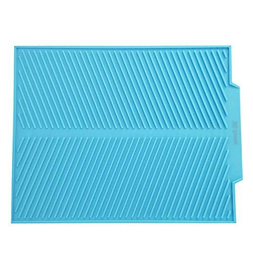 MG Power Tapis de Séchage Vaisselle en Silicone Multifonctionnel, Grand Dessous de Plat 43 x 33 cm Résiste à la Chaleur, Set de Table Antidérapant, Tapis égouttoir Antibactérien (Bleu)