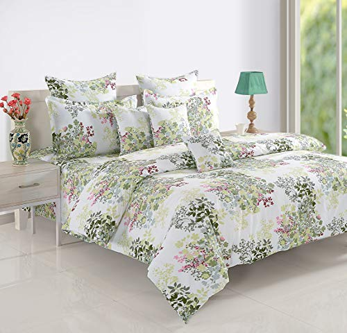 Swayam 160 TC Floral Print Cotton Single Bed Sheet with 1 Pillow Cover - White, Green