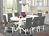 EAST WEST FURNITURE VADR9-LWH-07 9Pc Dinette Set Includes a 59/76.4 Inch Oval Dining Table with Butterfly Leaf and 8 Parson Chair White Finish Leg and Linen Fabric-Gray Color