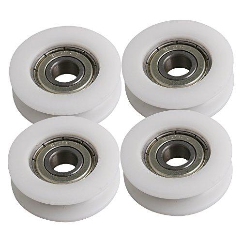 34x10.5mm Weiß Runde U-Typ Nuss Räder Führungsschiene Rollenlager Riemenscheibe für Möbel Hardware Packung von 4 stück