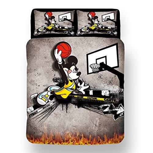 Dakeai - Juego de cama infantil de microfibra con diseño de Mickey Disney con texto en inglés 'Mickey y Minnie Kiss Love (4,135 x 200 cm)