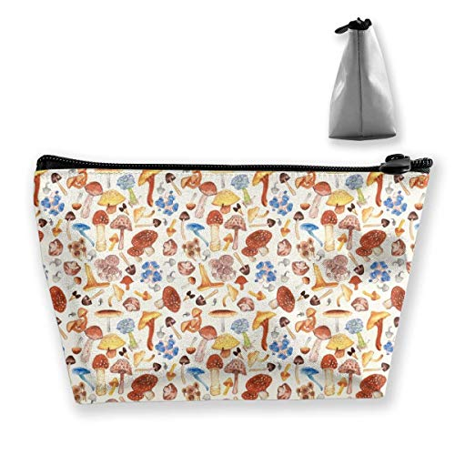 Red Mushrooms Trapezoid Cosmetic Bag Storage Bag Zipper Multifunctional Accessory Wallet Travel Outdoor Shopping Coin Wallet for Adult Women