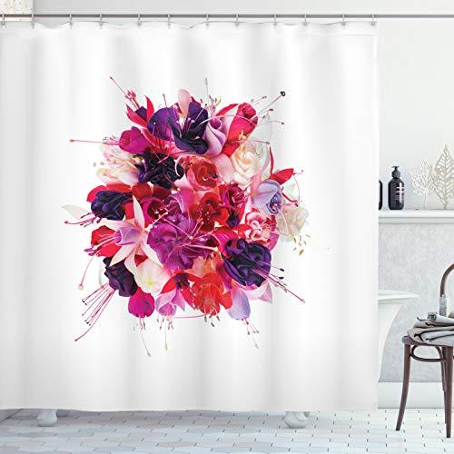 ABAKUHAUS Fuchsie Duschvorhang, Bouquet von exotischen Blumen, Set inkl.12 Haken aus Stoff Wasserdicht Bakterie & Schimmel Abweichent, 175x220 cm, Dark Purple Blasse Pfirsich