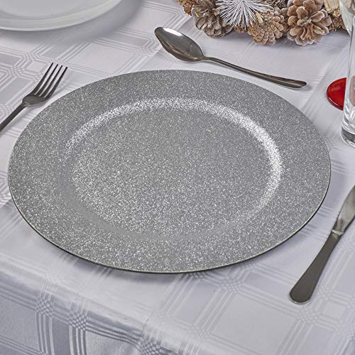Christmas Festive Colorful Charger Plates Dinner Placement Home Kitchen Dinning Décor Setting (Silver, 6)
