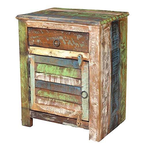 GOTOTOP - Mesita de noche de madera maciza con 1 cajón y 1 puerta, mesa auxiliar de estilo industrial, armario de almacenamiento para dormitorio, salón, pasillo, oficina