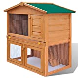Tidyard 3 Doors Outdoor Rabbit Hutch Small Animal House Pet Cage Solid Pine Wood Frame with Non-Slip Ramp, Pull-Out Tray Painted Finish Wood 36.6inch x 23.6inch x 38.2inch (L x W x H)