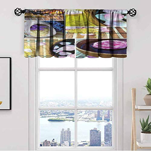 Spa Window Kitchen Curtain Valance,Spa Theme Candles Oil Thermal Insulated Tier Valance Curtain for Bedroom Living Room Kitchen,Rod Pocket,Matching with Curtain Panels,42 x 12 Inch, 1 Panels