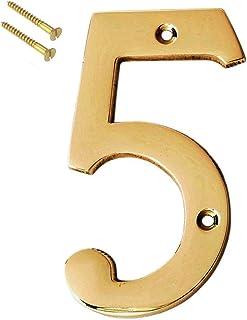 "eSplanade 4"" Brass House Hotel Door Number Plaque Sticky Numeric Numerical Digit 0-9 (5(Five))"