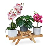 Relaxdays Escalera de Flores con 3 estantes, para el alféizar de la Ventana, de bambú, estantería para Plantas, 17 x 51,5 x 15 cm, Color Natural, Naturaleza