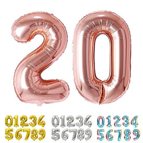 Ponmoo Foil Globo Número 20 Oro Rosa, Gigante Numeros 0 1 2 3 4 5 6 7 8 9 10-19 20-29 30 40 50 60 70 80 90 100, Grande Globos para La Boda Aniversario, Globo de Cumpleaños Fiesta Decoración