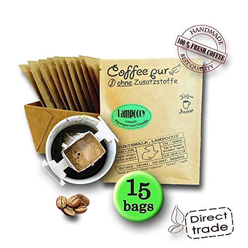 Life is You! Coffee Bags | (BIO) Lampocoy Grand Cru Kaffee aus dem kleinen Bergdorf Lampocoy in Guatemala | 15 Coffee Bags (für Becher) | - 100% Arabica - frisch & schonend handgerösteter Filterkaffee | Jeder Coffee Bag EINZELN in einem Sachet VERPACKT