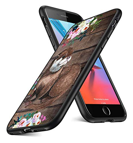 iPhone SE Case 2020,iPhone 8 Case,iPhone 7 Case Clear Cases for iPhone SE 2nd Generation,iPhone 8,iPhone 7, Animal Watercolor Flowers, Cute Brown Otters