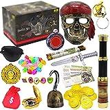 Juego de juguetes para baúl del tesoro de pirata, juego de juguetes de simulación de pirata vintage para niños