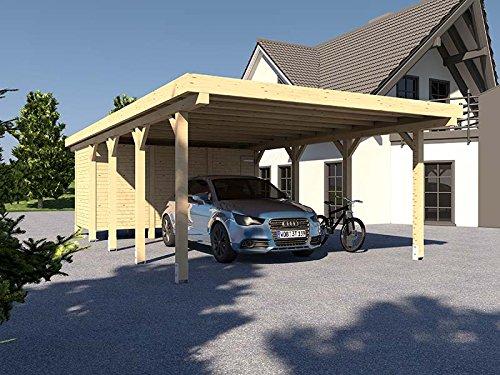 Carport Flachdach MONTREAL XIV - 500 x 800 cm Mit Geräteraum Leimbinder Fichte Flachdachcarport