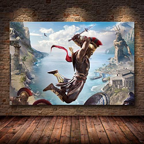 Sin Marco Cuadros 40X50Cm - Assassin'S Creed Odyssey Origen Poster Decoración Pintura sobre Lienzo De Alta Definición Lienzo Pintura Arte Carteles E Impresiones,Wkh-382-1