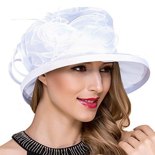 Ruphedy Damen Ascot Derby Kirche Sonnenhut Britische Hochzeit Tee Party Hüte S051 (S043-Weiß)
