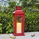 Ninganju Inches Tall Decorative Candle Lantern Red Metal Glasses Antique Outdoor Hanging Lanterns Great for Wedding, Patio Parties, Indoor/Outdoor Decorative Size S