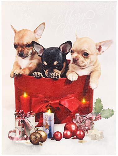 infactory LEDbild: LED-Wandbild, Weihnachts-Hundewelpen-Motiv, 3 Flacker-LEDs, 30 x 40 cm (LED-Bilder Weihnachten Winter)