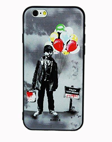 Cover iPhone 6, JR Design Cover Silicone Morbida Stampa Artisti con effetti in rilievo, Follow Your Dreams Apple iPhone 6 Cover TPU Nera ABJR_002