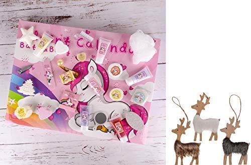 Adventskalender Weihnachtskalender Unicorn für Frauen, Mädchen, Pferde- & Einhorn-Fans, 24 Kosmetik Adventskalender Kleinigkeiten für Körperpflege, Nagelpflege, Badespaß uvm