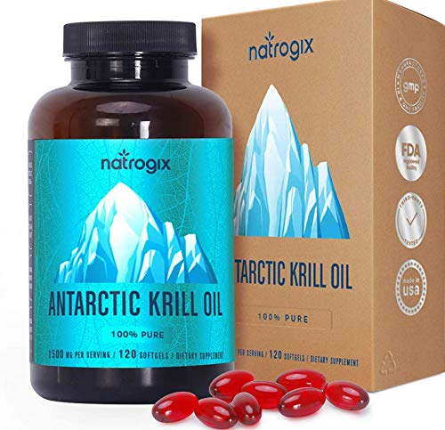 Natrogix Antarctic Krill Oil Supplement,120 Softgels,Omega-3s with High Levels of EPA + DHA,Astaxanthin and Phospholipids,No Fishy Aftertaste,Non-GMO.Made in USA