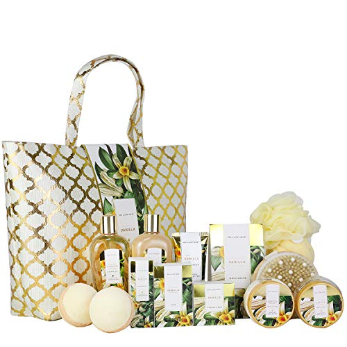 Spa Luxetique Spa Gift Basket, Vanilla Bath Set for Women, Luxury 15 Pcs Bath and Body Gift Set, Relaxing at Home Spa Gift Set with Massage Oil, Bath Salt, Bubble Bath. Best Spa Gifts for Women.