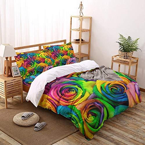 Juego de Funda nórdica de Flores Rosas Coloridas Juego de Cama de 2/3/4 Uds con Funda de Almohada Juego de Cama Textiles para el hogar Juegos de edredón