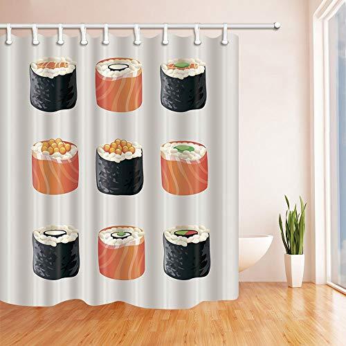 LRSJD 3D-Digitaldruck Künstlerisches Essen Japanischer Sushi-Duschvorhang widerstandsfähiger Polyester-Stoff Badezimmerdekorationen Badvorhänge Haken enthalten 71X71 Zoll