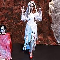 HHM リンハロウィーンパーティー大人女性レースコスプレ服死体花嫁ドレスゴースト花嫁コスプレハロウィーンブラッディブライダルウェアコスチューム、胸囲:70-100cm、ウエスト:72-92cm、袖丈:58cm、総丈:131cm