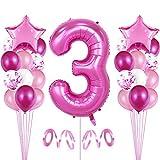 Bluelves 3er Cumpleaños Globos, Decoración de cumpleaños 3 en Rosas, Feliz cumpleaños Decoración Globos 3 Años, Globos Numeros para Fiestas,Globos de Aluminio para Niñas