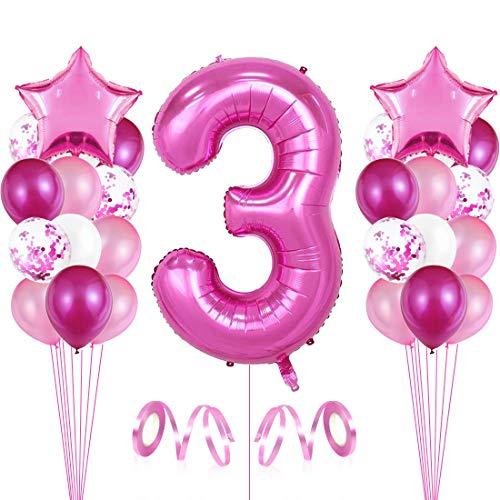 3er Cumpleaños Globos, Decoración de cumpleaños 3 en Rosas, Feliz cumpleaños Decoración Globos 3 Años, Globos Numeros para Fiestas,Globos de Aluminio para Niñas