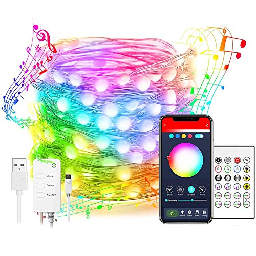 LED Fairy Lights,Smart WiFi Led String Lights 10M, Compatible with Alexa and Google Home, App Control,Music Sync,100LED RGB Color Changing Lights USB Powered for Bedroom,Home,Kitchen,Party,Wedding