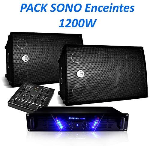 Set Sono Lautsprecher 1200 W BMS-12 Verstärker AMP-300 + Mischpult DJM200USB/SD + Kabel