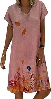 FSSE Women's V Cut Loose Leaf Printing Short Sleeve Casua Dress Mini Dress