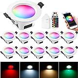 Foco Empotrable LED techo 5 W RGBWC Foco LED empotrable regulable , lámpara de techo para baño, salón, cocina, KTV, bares, 10 unidades