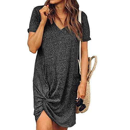 N\P Sommerkleid für Damen, Rundhalsausschnitt, kurze Ärmel, seitlich geknotet, Freizeitkleid Gr. XXL, grau