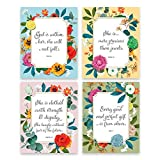 Modern Botanical Prints - Christian Wall Art for Girls 8x10 (4 piece Wall Art: Psalm 46 5, Proverbs 3 15, Proverbs 31 25, James 1 17) God is within her she will not fall