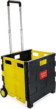 Carro de la compra plegable de plástico – carrito de la compra ligero para profesores – caja de almacenamiento plegable con ruedas con mango de aluminio: Amazon.es: Hogar