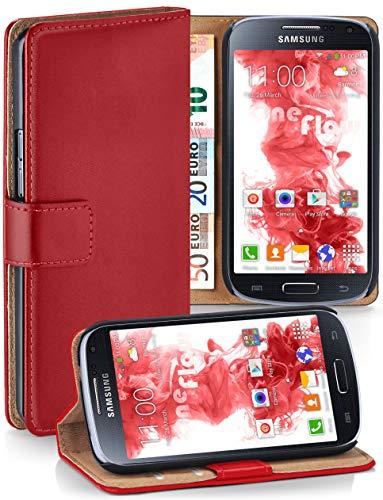 moex Klapphülle kompatibel mit Samsung Galaxy S4 Mini Hülle klappbar, Handyhülle mit Kartenfach, 360 Grad Flip Case, Vegan Leder Handytasche, Rot