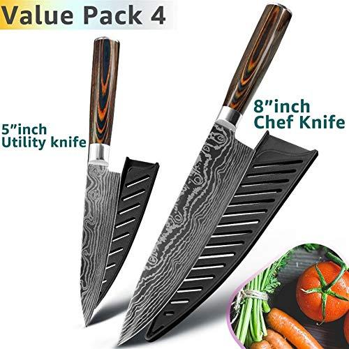 Cuchillo de cocina de 8 pulgadas Chef japonés cuchillos 7Cr17 440C alto contenido de carbono del acero inoxidable de Damasco Utilidad Dibujo Santoku Conjunto Cleaver afilado ( Color : Value Pack 4 )