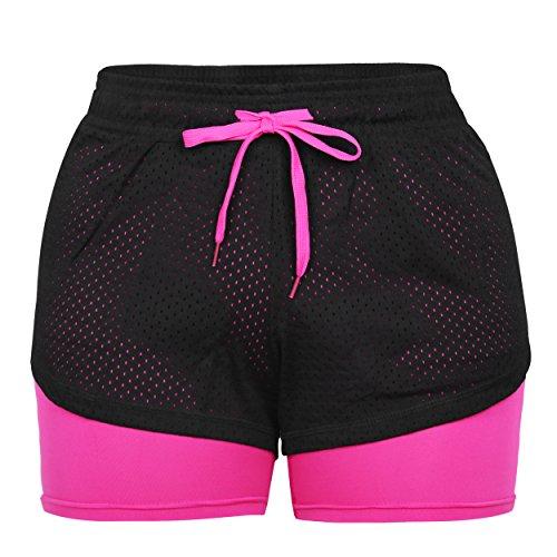 Eizur 2 in 1 Damen Shorts Kurze Hosen Sport Shorts Yoga Fitness Running Hot pants Yogahose Sporthose Trainingshose Jogginhose Pants Stretch Short Size S-Rose Rot 1