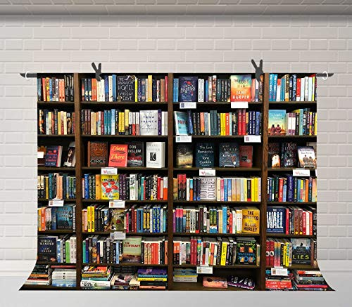 FUERMOR Bookshelf Background 7x5ft Bookcase Library Book Store Photography Backdrop Photoshoot Props Wall Mural LYFU775